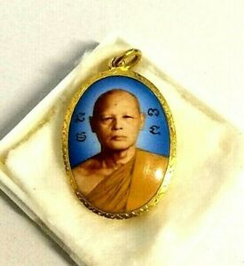 Phra Lp Pae Thai Amulet Wat Phigunthong Pendant Locket 22K / 90% Gold Frame