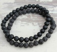 6MM Black Matte Onyx & Lava Stone Beaded Lucky Bracelet Mens Gift 1Set Jewelry