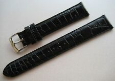 GENUINE EMPORIO ARMANI WATCH STRAP BAND BLACK LEATHER 18 mm & STEEL BUCKLE NEW