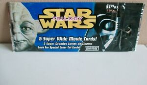 Vntg. 1997 Star Wars TRILOGY (5) Super Wide Movie Cards - American? + FREE Card