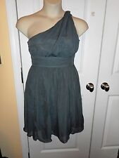 New Tevolio S Dover Gray 1 Shoulder Chiffon Dress Evening/Bridesmaids Washable