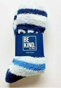 ELLEN BE KIND Fuzzy Socks BLUE/WHITE STRIPE - Blue Non-Slip BOX EXCLUSIVE - NEW