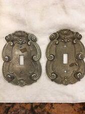 Vintage Vernon Brass Ornate Scroll Single Light Switch Covers Lot of 2