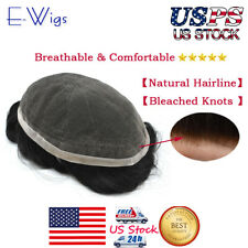 Full French Lace Mens Toupee Black Human Hairpieces Systems Natural Replacements