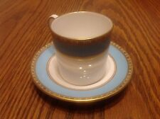 Fifth Avenue Royal Crown Derby Demitasse Cup & Saucer Aqua, gold, white, A1265