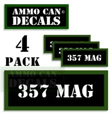 """357 MAG Ammo Can Decals Ammunition Ammo Can Labels 3""""x1.15"""" Vinyl 4-pack"""