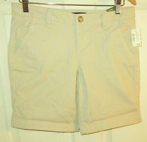 "New $39 Aeropostale Women sz 6 beige khaki chino shorts zip up Bermuda 9"" inseam"