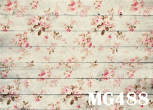 7x5FT Polyester Photography Photo Background Floral & Wood Board Studio Backdrop