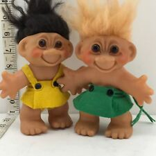 Vintage Thomas Dam Troll, Denmark, Amber Eyes Felt Dress Brown Yellow Hair LoT