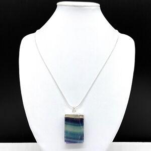"Fluorite Stone Pendulum Pendant 925 Sterling Silver 18"" Chain Necklace Healing"