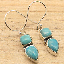 Simulated LARIMAR Square & Drop 2 Gemstones Earrings ! Silver Plated ART Jewelry