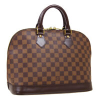 LOUIS VUITTON ALMA HAND BAG MI4189 PURSE DAMIER EBENE N51131 AUTHENTIC AK45893