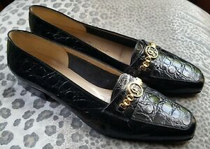 Salvatore Ferragamo Ladies Black Croc Leather Heels Shoes UK 4.5 37.5