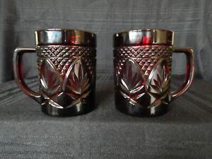 2 Vintage Luminarc Arcoroc Ruby Red Glass Mugs Diamond Cut Leaf Pattern France