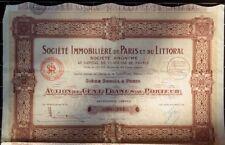 Action 100 francs Société Immobilière de Paris et du Littoral - 1924