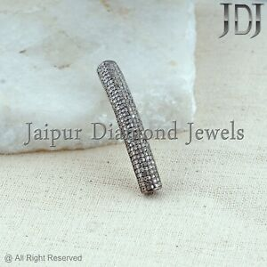925 Sterling Silver Natural Diamond Pave Spacer Pipe Vintage Jewelry Finding NEW