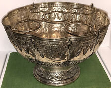Ornate Champagne Wine Cooler Ice Bucket Bowl - India - Nice Stamped ? Metal Work