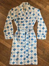 Vtg 50s 60s Diamond Argyle Cotton Bathrobe Boys 18 Mens S-M Belt Robe Blue White