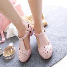 Lolita Mary Janes T-strap Low Cuban Heel Women Sandal Shoes Pumps Plus Size En40