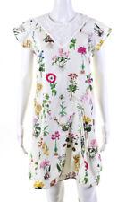 No. 21 Womens Floral Cap Sleeve Donna Ruffle Shift Dress White Size 42 LL19LL