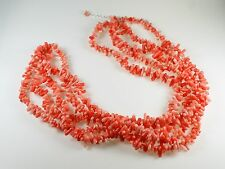 Multi Strand Salmon Coral Branch Bead Torsade Necklace Sterling Silver Clasp