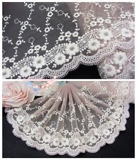 """7""""*1Y Embroidered Floral Tulle Lace Trim~Old Taupe+Cream~Sweet Whisper~Elegant~"""