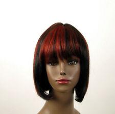 perruque afro 100% cheveux naturel mi long méchée noir/rouge JACKIE 01/1b410