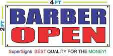 2x4 Barber Open Banner Sign Red White & Blue New Discount Size & Price