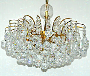 Christoph Palme Palwa Lampe Ø 47 cm 11,7 kg Kristall Gold Hollywood Regency