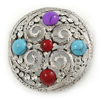 Large Vintage Inspired Round Acrylic Stone, Crystal Brooch In Silver Tone -