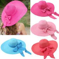 Women Beach Hat Lady Derby Cap Wide Brim Floppy Fold Summer Sun Straw Bow Hat