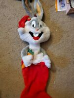 "Vintage Bugs Bunny Plush Stocking 30"" Cartoon Christmas Sock Warner Bros 1990"