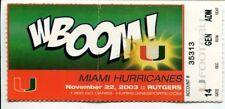 College Football Miami Hurricanes 2003 Rutgers The U Ticket Stub
