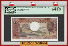 TT PK 1 1974 CENTRAL AFRICAN REPUBLIC 500 FRANCS PCGS 66 PPQ 1ST ISSUED BANKNOTE
