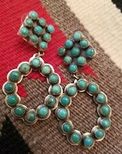 Navajo Royston Turquoise Cluster Sterling Silver Dangle Earrings signed