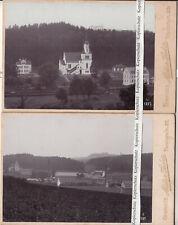 2 x Seeber Chemnitz Kabinettfoto Fabrik Kirche bei Zschopau ? 1897 (F2531