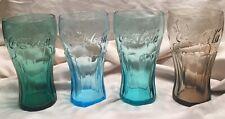 2009 McDonald's (4) Coca Cola Glasses Heavy Glass Aqua, Brown, Light /Dark Green