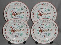 1995 Set (4) Farberware WHITE CHRISTMAS PATTERN Salad Plates HOLIDAY - CHRISTMAS