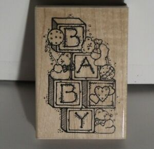 Baby themed Rubber-stamp (USED) Bears and blocks