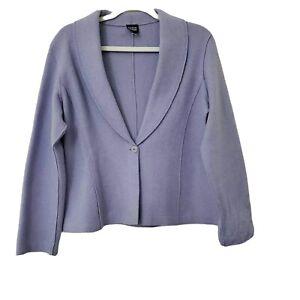 Eileen Fisher Womens Wool Blend Blazer Jacket Purple Small Career Office