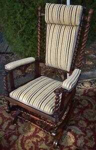 1880s Antique George Hunzinger Barley Twist Walnut Platform Rocker Rocking Chair