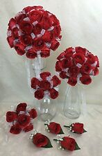 Red Roses with White Organza Artificial Silk Flowers Wedding Bouquet Set