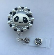 Bling Panda retractable ID HOLDER badge reel lanyard retractor-black N White