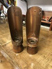 Two Vintage Copper And Wood Chamber Candle Sticks - 10 inches tall with handle