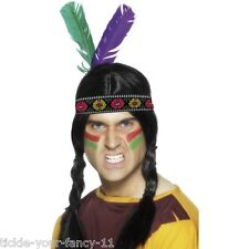 Men's Indian Feathered Headband Multi Coloured w 2 Feathers Fancy Dress Stag Do