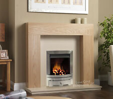 """GAS BRUSHED SILVER OAK SURROUND CREAM MARBLE STONE BIG FIRE FIREPLACE SUITE 54"""""""