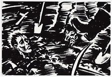 Frans Masereel:  Begräbnis der ermordeten Lagergefangenen, um1945, Tusche/Encre