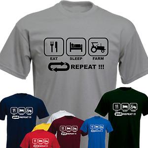 EAT SLEEP FARM Tractor Repeat ! Farming Farmer Funny Present T-shirt