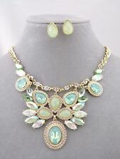 Gold With Green Acrylic Necklace Set Crystal Fashion Jewelry NEW