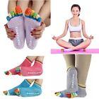5Pairs Womens 5-Toe Colorful Yoga Gym Non Slip Massage Toe Socks Full Grip